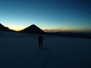 Hiking on the glacier before dawn