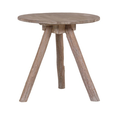 rustic wooden round tripod table