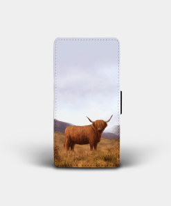 Country Images Personalised Custom Customised Flip Phone Cover Case Scotland Scottish Highlands Highland Cow Hairy Coo Gift Gifts