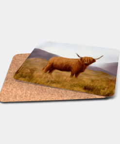 Country Images Personalised Printed Custom Placemats Tablemats Cheap Highland Collection Highland Cow Hairy Coo Scotland Scottish Gift Gifts Ideas Tableware (Cork)