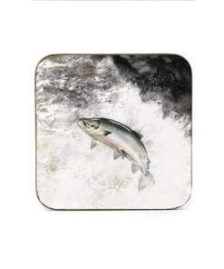 Highland Collection - Square Coaster (Leaping Salmon) Personalised Gift