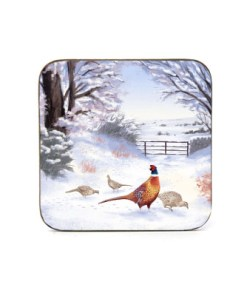 Highland Collection - Square Coaster (Pheasant) Personalised Gift