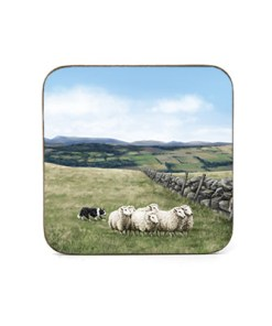 Highland Collection - Square Coaster (Sheep & Sheepdog) Personalised Gift