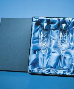 "Satin Lined Presentation Box - 2 x ""Charlotte"" Champagne Flutes"