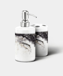 Country Images Personalised Custom Ceramic Bathroom Toothbrush Holder Soap Dispenser Set Highland Collection Leaping Salmon Gifts