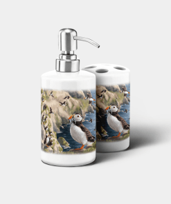 Country Images Personalised Custom Ceramic Bathroom Toothbrush Holder Soap Dispenser Set Highland Collection Puffin Puffins Gifts