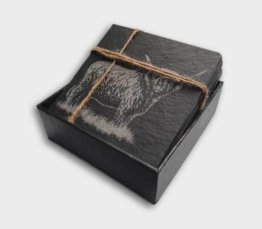 Slate Coaster Box Set Personalised Gift - Highland Cow Personalise Customise Custom Scotland Scottish Design