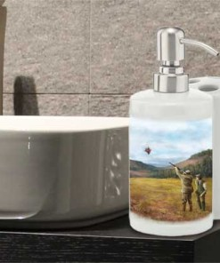 Bathroom Set Toothbrush Holder and Soap Dispenser (Clay Shooting) Personalised Gift
