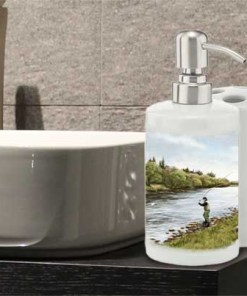 Highland Collection - Bathroom Set Toothbrush Holder and Soap Dispenser (Fly Fishing) Personalised Gift