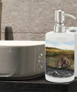 Highland Collection - Bathroom Set Toothbrush Holder and Soap Dispenser (Otter) Personalised Gift