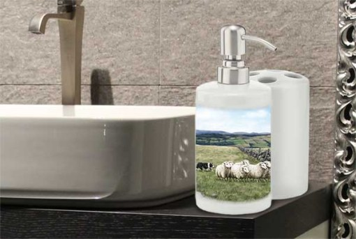 Highland Collection - Bathroom Set Toothbrush Holder and Soap Dispenser (Sheep & Sheepdog) Personalised Gift