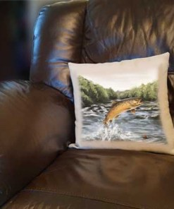 Highland Collection - Linen Style Cushion (Brown Trout) Personalised Gift