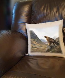 Highland Collection - Linen Style Cushion (Eagle) Personalised Gift