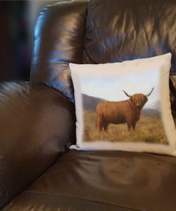 Highland Collection - Linen Style Cushion (Highland Cow) Personalised Gift