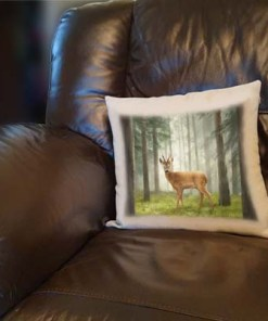 Highland Collection - Linen Style Cushion (Roe Buck) Personalised Gift