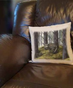 Highland Collection - Linen Style Cushion (Wild Cat) Personalised Gift