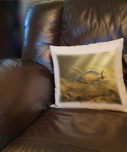Linen Style Printed Cushion (Common Carp) Personalised Gift