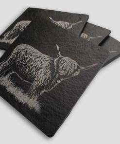 Slate Coaster Box Set Personalised Gift - Highland Cow Personalise Customise Custom Scotland Scottish Design