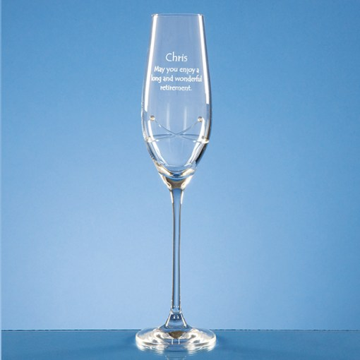 Personalised Engraved Diamante Champagne Flute Glass (Kiss) Crystal Scotland UK
