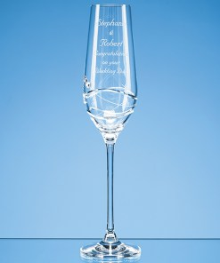 Personalised Engraved Diamante Champagne Flute Glass (Modena) Crystal Scotland UK
