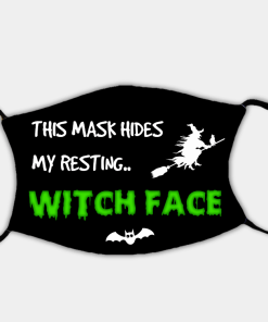 Country Images Personalised Custom Face Mask Masks Facemask Facemasks UK Scotland Gifts Halloween Resting Witch Face