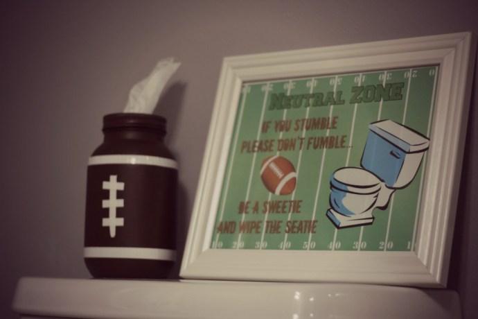football bathroom décor