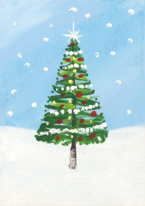 """""""Christmas Tree"""" Painted by Dorothy Peterson-a resident at Country Meadows of Frederick"""