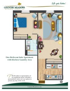 One Bedroom Apartment with Kitchen/Laundry Area
