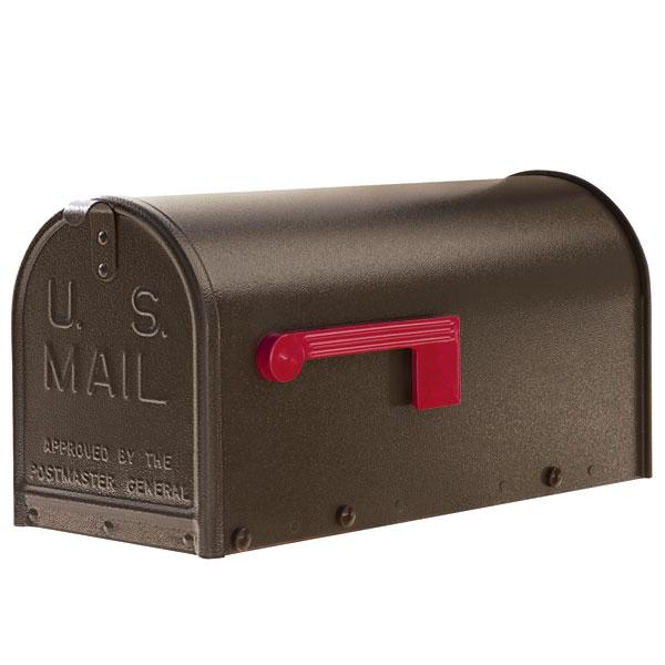 A bronze oversized Janzer Mailbox