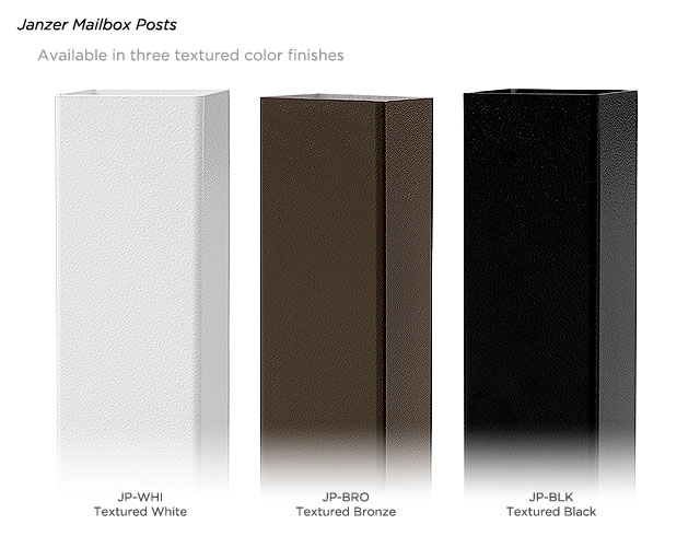 The three colors offered on the Janzer Mailbox Post