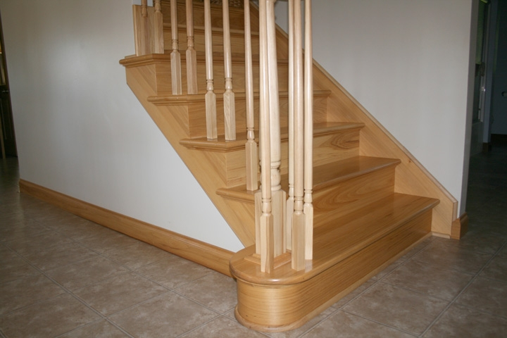 Photo Gallery Butcher Block Countertops Stair Parts Wood | Prefinished Hickory Stair Treads | Hickory Natural | Hardwood Lumber | Hand Scraped | Stair Nosing | Retread