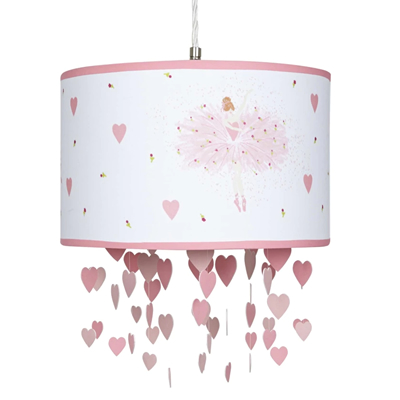 Girls Pink Ballerina Lightshade With Mobile Dangling Hearts Country Gifts And Homeware Girls Pink Ballerina Lightshade With Mobile Dangling Hearts