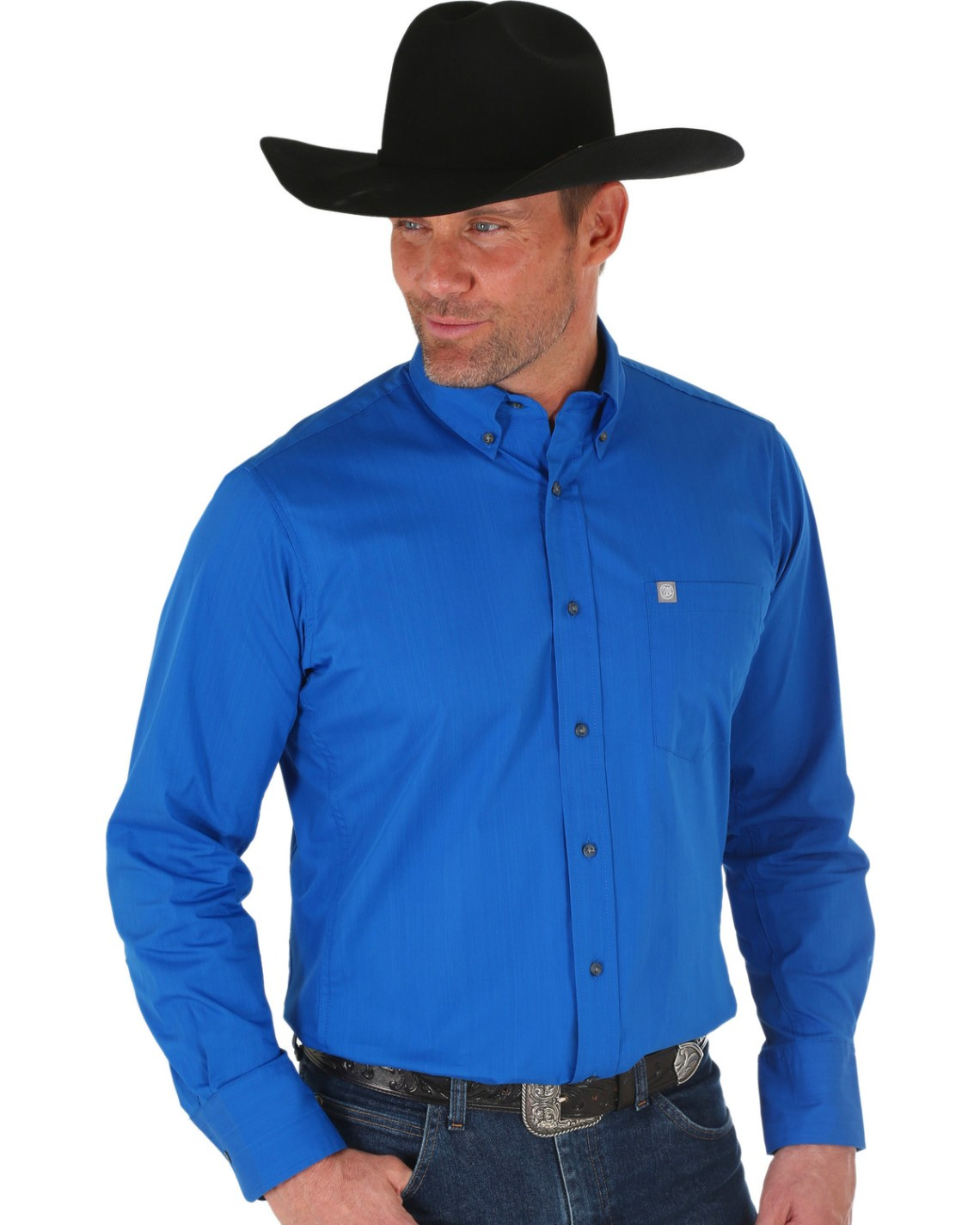 Download Wrangler Men's Blue Performance Western Shirt - Country ...
