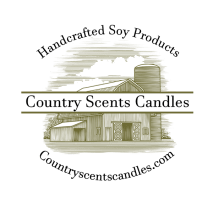 """Photo of the Country Scents Candles logo that says """"Handcrafted soy products, Country Scents Candles, countryscentscandles.com"""""""