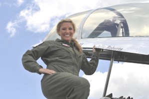 Julie Roberts takes to the skies in an F-16
