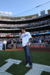Billy Ray Cyrus celebrates the 4th of July with the LA Dodgers