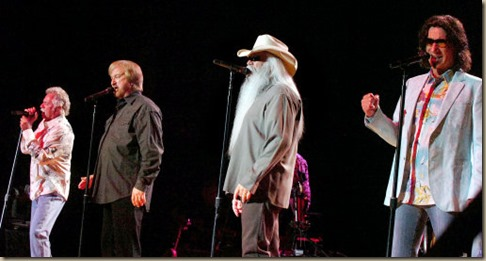 "The Oakridge Boys, from left, Joe  Bonsall, Duane Allen, William Lee Golden and Richard Sterban, perform their latest album ""The Boys Are Back"" Sunday evening at the City Bank Auditorium in Lubbock. (Merissa Ferguson/Lubbock Avalanche-Journal)"