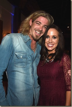 NASHVILLE, TN - NOVEMBER 01:  Bucky Covington and publicist Katherine Cook attend the Folds of Honor/CMS Nashville Songwriter of the Year Party during the 50th annual CMA Awards week on November 1, 2016 in Nashville, Tennessee.  (Photo by Rick Diamond/Getty Images for CMS)