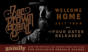 Zac Brown announces Welcome Home tour