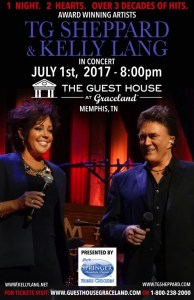 Award Winning Artists T.G. Sheppard and Kelly Lang Return to Memphis on July 1 for Upcoming Show at The Guest House at Graceland Theater