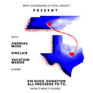 TN to TX Benefit Show featuring Sinclair, Andreas Moss, Vacation Manor + More