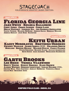 Stagecoach Announces 2018 Lineup with headliners Garth Brooks, Keith Urban, Florida Georgia Line