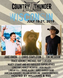 Chris Stapleton, Tim McGraw and Jake Owen set to headline 2019 Country Thunder Wisconsin