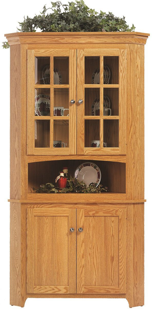 Elisee Shaker Corner Hutch Countryside Amish Furniture