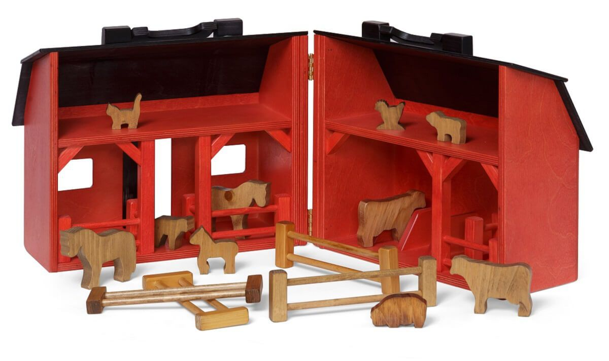 Wooden Folding Barn With Animal Toys Countryside Amish