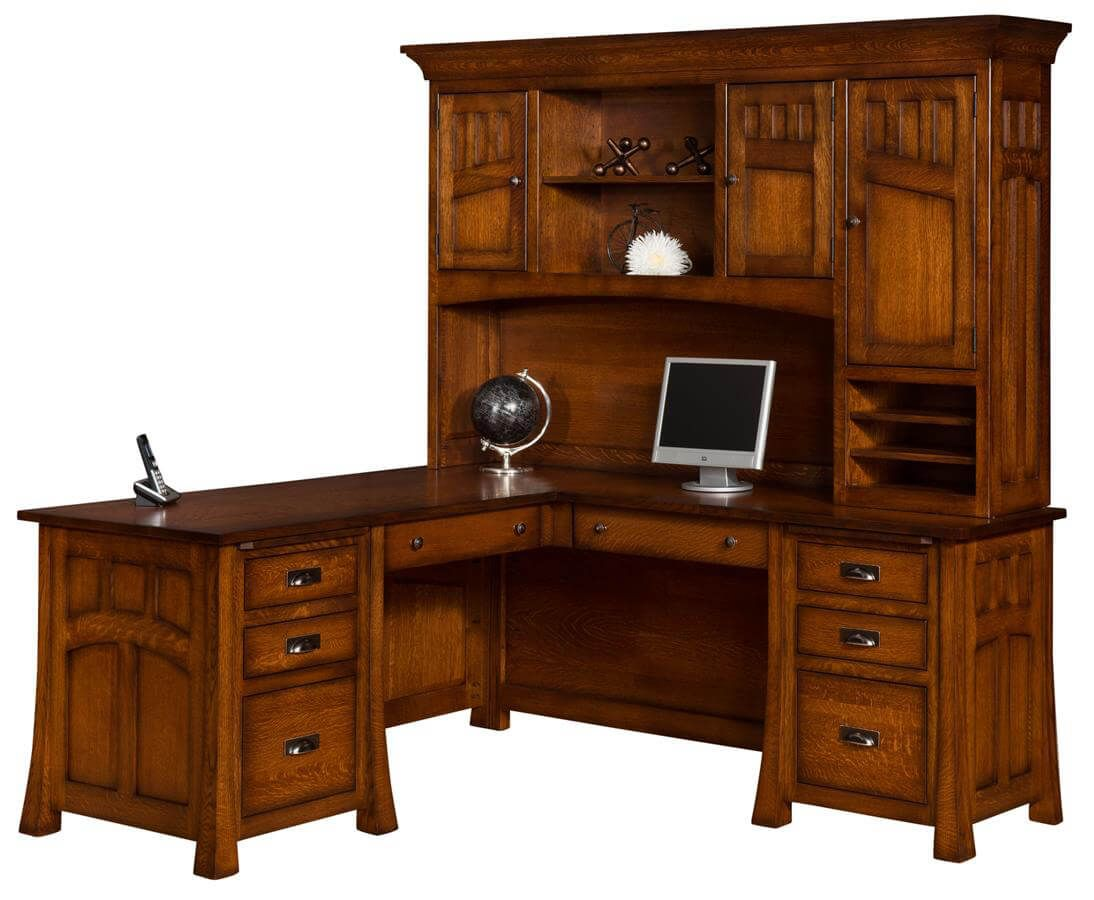 Mission Canyon L Shaped Desk With Hutch Countryside