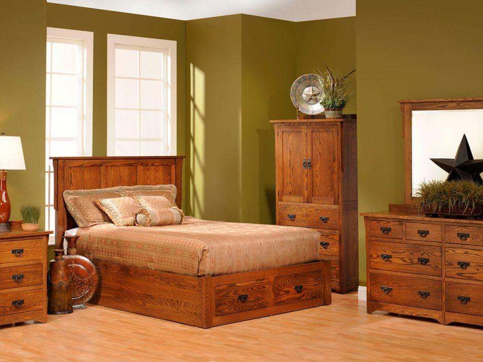 Barcelona Oak Platform Bed Countryside Amish Furniture