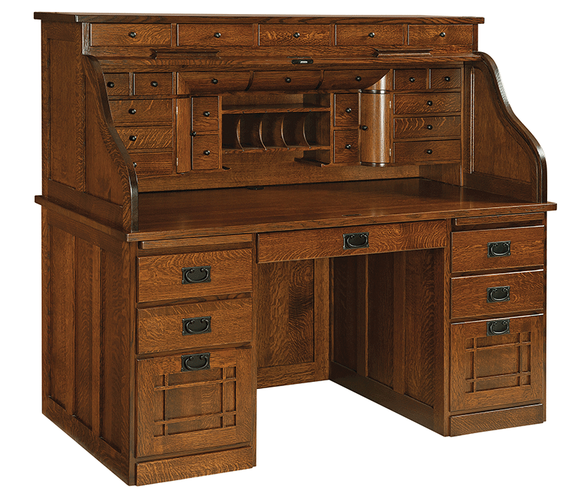 Joshuas Craftsman Roll Top Desk Countryside Amish Furniture
