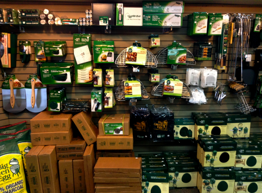 Big Green Egg Wall Of Accessories Country Stove Patio