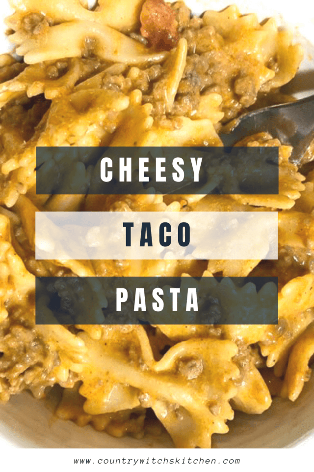 This delicious cheesy taco pasta recipe is a great weeknight recipe to use ground beef in and kids love it too! #kidfriendly #weeknightdinner #tacopasta #groundbeefrecipe